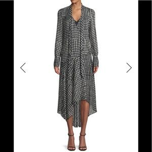 Theory Tie Neck Long Sleeve Silk-blend Wrap Dress